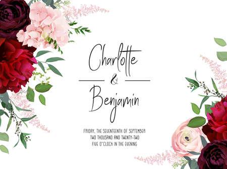 Classic luxurious burgundy red peony, dark and blush ranunculus, dusty pink hydrangea