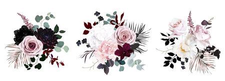 Dusty pink, pastel, black flowers vector design bouquets.