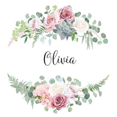 Dusty and light pink, creamy antique rose, pale flowers vector design wedding bouquets Ilustração Vetorial