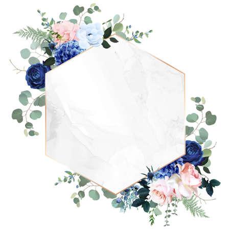 Royal blue, navy garden rose, blush pink hydrangea flowers, anemone, thistle, eucalyptus