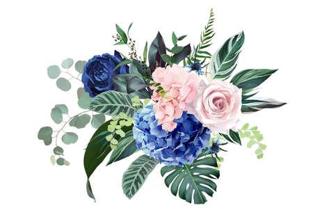 Royal blue, navy garden rose, blush pink hydrangea flowers, thistle Vetores