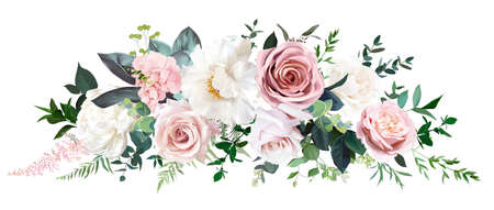 Dusty pink and cream rose, peony, hydrangea flower, tropical leaves vector garland Vektorové ilustrace