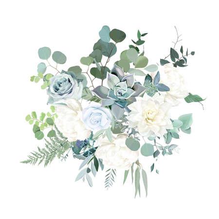 Silver sage green, mint, blue, white flowers vector design spring bouquet.