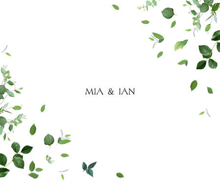 Herbal minimalist vector greenery wedding design frame