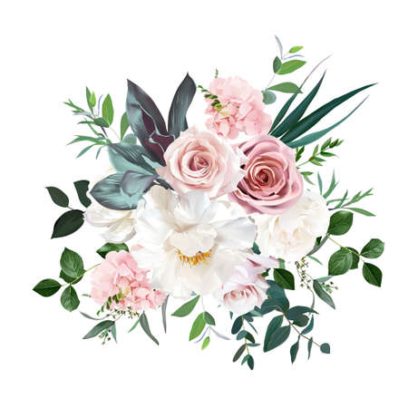Dusty pink and cream rose, peony, hydrangea flower, tropical leaves vector design wedding bouquet Vettoriali
