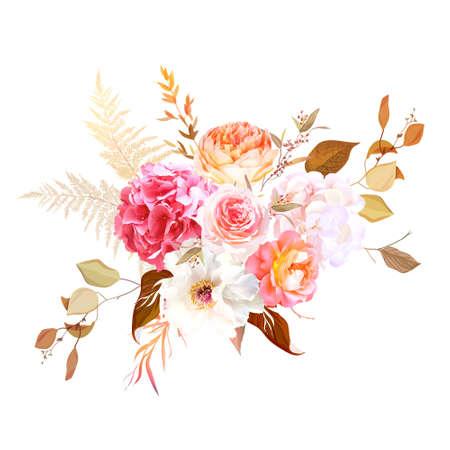 Trendy dried palm leaves, blush pink rose, orange ranunculus, white hydrangea Vektoros illusztráció
