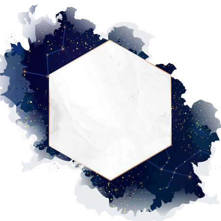 Diamond shaped marble vector wedding night invitation.