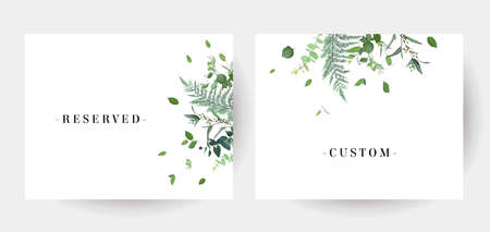 Herbal minimalist vector grenery watercolor wedding frames