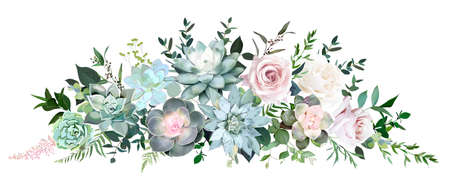 Dusty pink and cream rose, various echeveria succulents, tropical leaves garland Ilustracje wektorowe