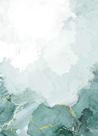 Classic emerald watercolor fluid painting vector design card. 일러스트