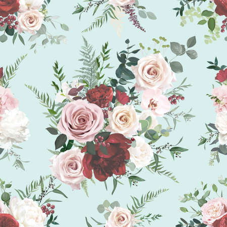 Dusty pink and red rose, burgundy peony, orchid, hydrangea flowers, sage eucalyptus, fern, greenery vector design
