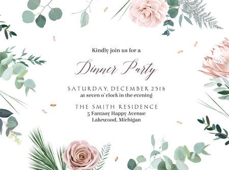 Dusty rose, camellia, protea, ranunculus, eucalyptus, greenery.