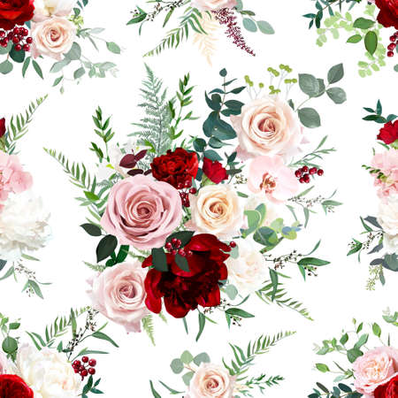 Dusty pink and red rose, burgundy peony, orchid, hydrangea flowers, sage eucalyptus, fern