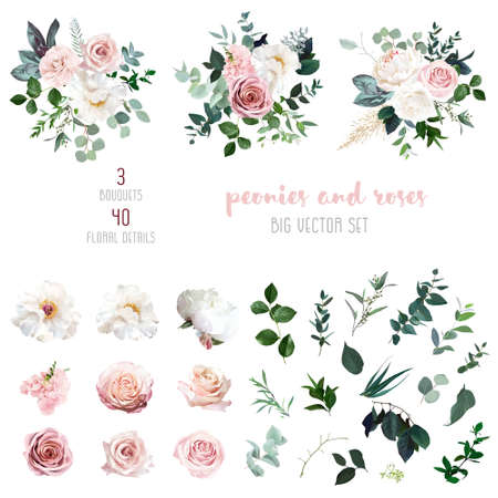 White peonies, blush and dusty pink roses, blooming freesia, eucalyptus, salal, pampas grass 스톡 콘텐츠