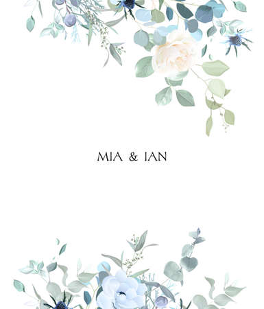 Creamy beige rose, anemone, dusty blue thistles, eucalyptus, greenery, juniper, brunia vector design frame