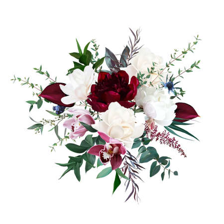Burgundy red peony and anthurium, cream white magnolia, pink orchid, peony flowers, thistle, greenery
