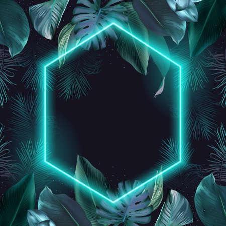 Paradise plant, greenery chic card. Stylish fashion banner. 스톡 콘텐츠