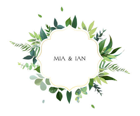 Watercolor style. Natural card greenery vector design.
