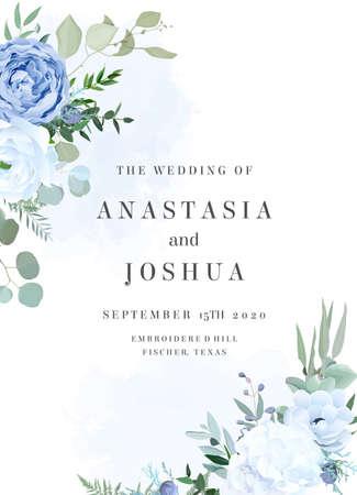Dusty blue rose, white hydrangea, ranunculus, anemone, eucalyptus vector design frame 일러스트