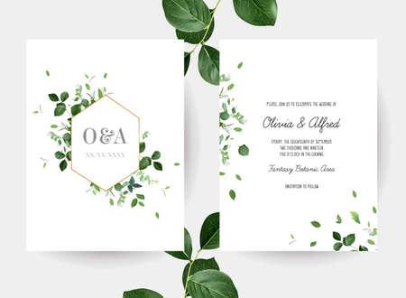 Herbal geometric vector wedding design watercolor frames 일러스트