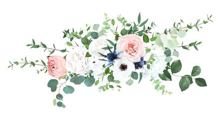 Blush pink garden roses, anemone, ranunculus, hydrangea flowers vector design bouquet. Wedding floral greenery. Mint, pink, beige, green tones. Watercolor flowers. Summer style. Elements are isolated 일러스트