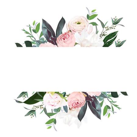 Dusty pink garden rose, peony, magnolia, ranunculus flower, tropical leaves vector design wedding banner