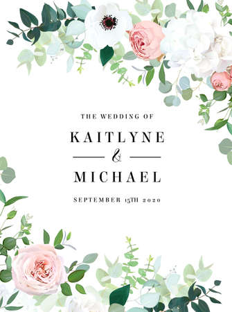 Floral vector banner vertical invitation frame with pink rose, hydrangea, eucalyptus, emerald and mint greenery, green plants. Wedding design minimalist card. All elements are isolated and editable 일러스트
