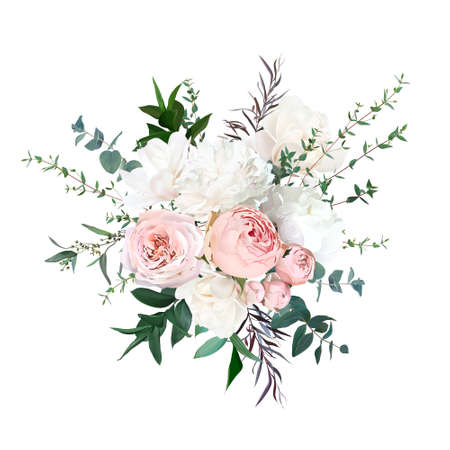 Blush pink garden roses, ranunculus, white peony, magnolia flowers vector design bouquet