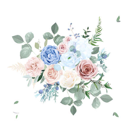 Dusty pink blush, blue and creamy rose flowers vector design wedding bouquet