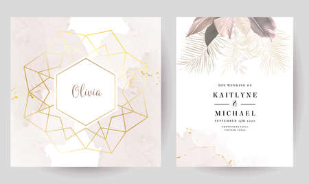 Luxurious beige and blush trendy vector design square frames