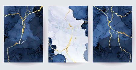 Classic blue watercolor fluid painting vector design cards