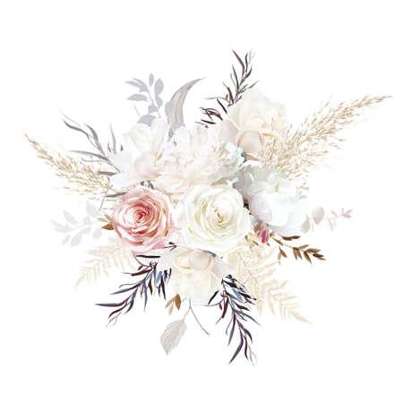 Luxurious beige and blush trendy vector design bouquet. 일러스트