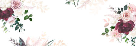 Floral banner arranged from leaves and flowers. Peony, greenery and roses card. 스톡 콘텐츠