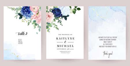 Classic blue rose, white and navy hydrangea, pink ranunculus, dahlia flowers