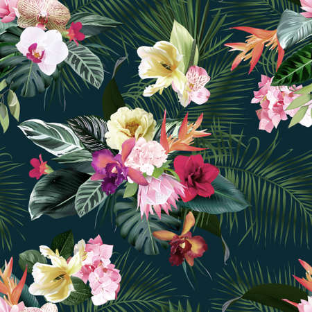 Exotic tropical flowers, orchid, strelitzia, hibiscus, protea, ylang-ylang, palm, monstera leaves vector seamless pattern.