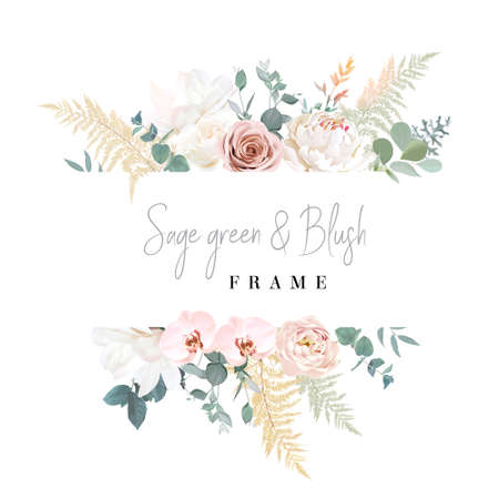 Silver sage and blush pink flowers vector design frame 일러스트