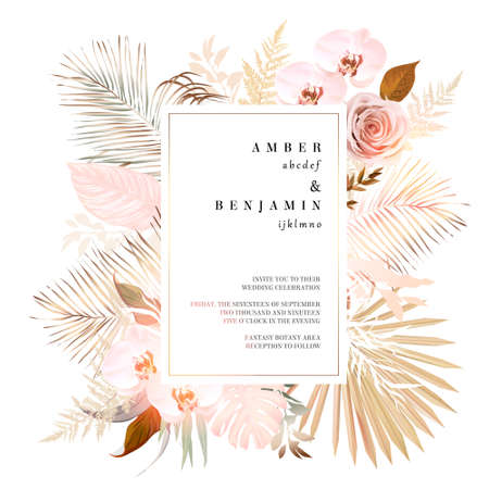 Trendy dried palm leaves, pale orchid, pampas grass, gold tropical monstera 일러스트