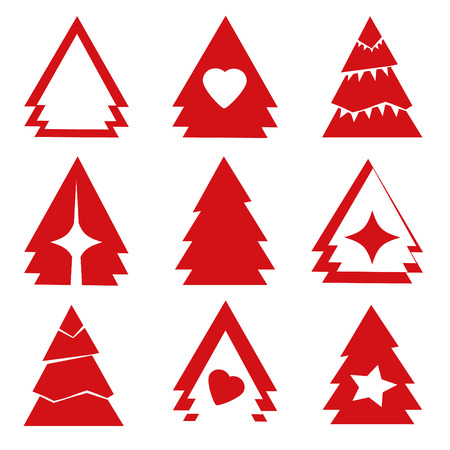 off the record: bright red stilized christmas firs Illustration