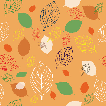 handdrawn: an image of autumn leaves of different colors, hand-drawn, stylized Illustration