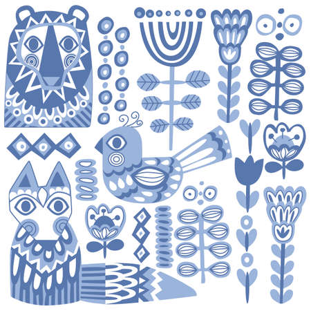 Seth vector flora and fauna of the north in nordic style blue animals birds flowers Vektorové ilustrace