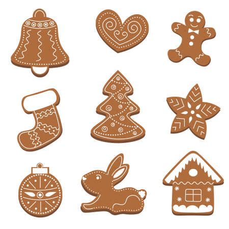 Christmas gingerbread set: bell, heart, man, sock, tree, star, new year's ball, bunny, house. Isolated on white background. Vector illustration. Collection of holiday symbols, icons. Illustration