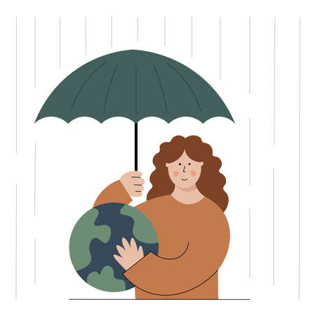 Earth protection concept. Vector illustration of the girl hugging the planet and taking an umbrella above. Caring of the globe. Environment conservation. Vettoriali