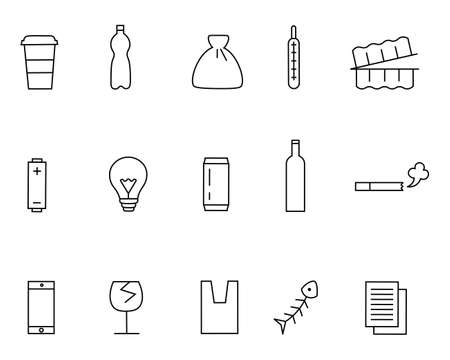 Different kinds of waste icons set. Thin line style. Set includes such icons as plastic and glass bottles, container, thermometer, battery, phone, bag, papers, electric lamp, cigarette etc. Ilustracja