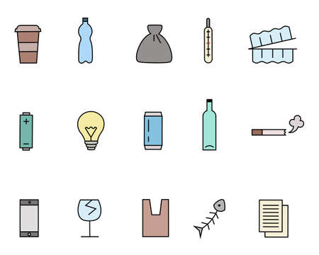 Different kinds of waste icons set. Thin line style. Colorful set, includes such icons as plastic and glass bottles, container, thermometer, battery, phone, bag, papers, electric lamp, cigarette etc.