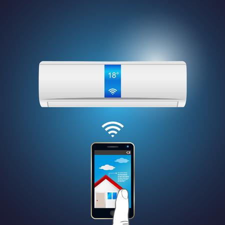 만약 IoT (사물 인터넷) 공기 조화 일러스트