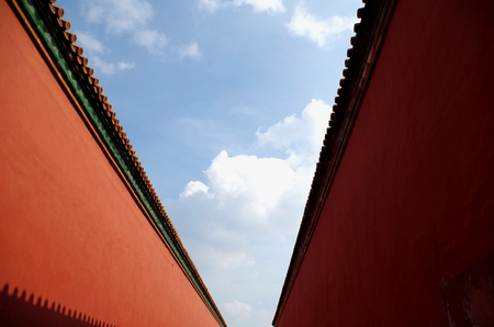 red wall: ancient red wall Stock Photo