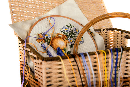 basket embroidery: House set for embroidery in a basket on the isolated background