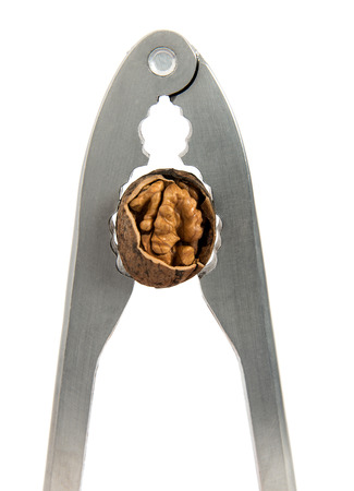 high calorie: Nippers for splitting of walnuts on the isolad background