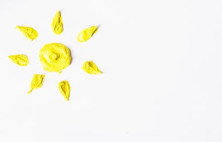 oil paints: Yellow sun as oil paints. Stock Photo