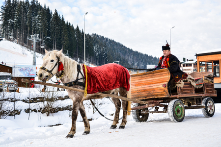 BUKOVEL, UKRAINE - December 17, 2016: Wooden cart with white horse and man in ukrainian national suite of ski resort Bukovel, Ukraine. Bukovel is the most popular ski resort in Ukraine.Carpathian. Editorial